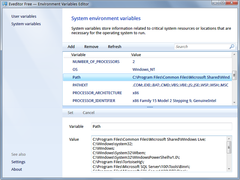Environment variables editor with native Windows 7 user interface